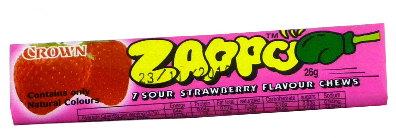 Zappo - Strawberry Chews, by Crown Confectionery,  and more Confectionery at The Professors Online Lolly Shop. (Image Number :2341)