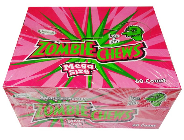 Zombie Chews - Sour Strawberry, by Sweetmans,  and more Confectionery at The Professors Online Lolly Shop. (Image Number :8327)