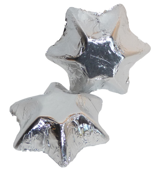 Chocolate Gems - Chocolate Stars - Silver Foil, by Chocolate Gems,  and more Confectionery at The Professors Online Lolly Shop. (Image Number :2396)