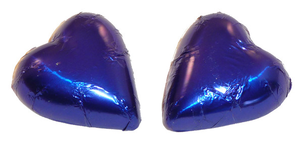 Chocolate Gems - Chocolate Hearts - Royal Blue Foil, by Chocolate Gems,  and more Confectionery at The Professors Online Lolly Shop. (Image Number :2400)