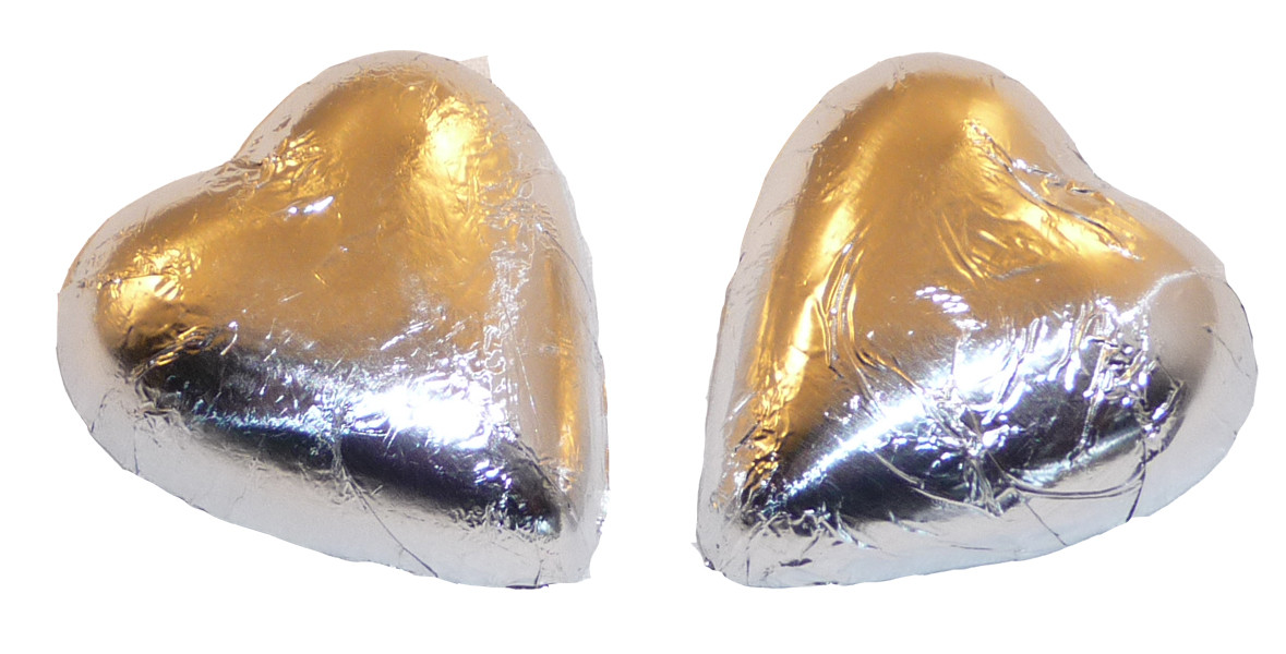Chocolate Gems - Chocolate Hearts - Silver Foil, by Chocolate Gems,  and more Confectionery at The Professors Online Lolly Shop. (Image Number :2402)
