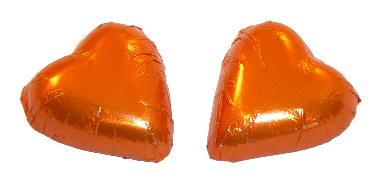 Chocolate Gems - Chocolate Hearts - Bronze Orange Foil, by Chocolate Gems,  and more Confectionery at The Professors Online Lolly Shop. (Image Number :2410)