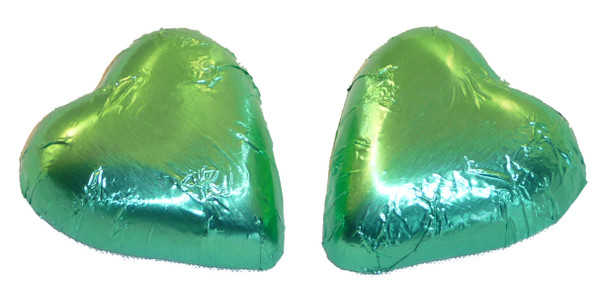 Chocolate Gems - Chocolate Hearts - Ice Green Foil, by Chocolate Gems,  and more Confectionery at The Professors Online Lolly Shop. (Image Number :2427)
