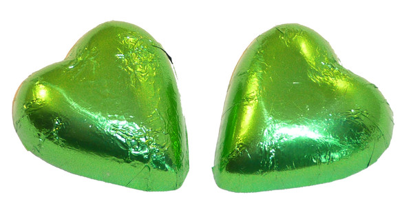 Chocolate Gems - Chocolate Hearts - Lime Green Foil, by Chocolate Gems,  and more Confectionery at The Professors Online Lolly Shop. (Image Number :2431)