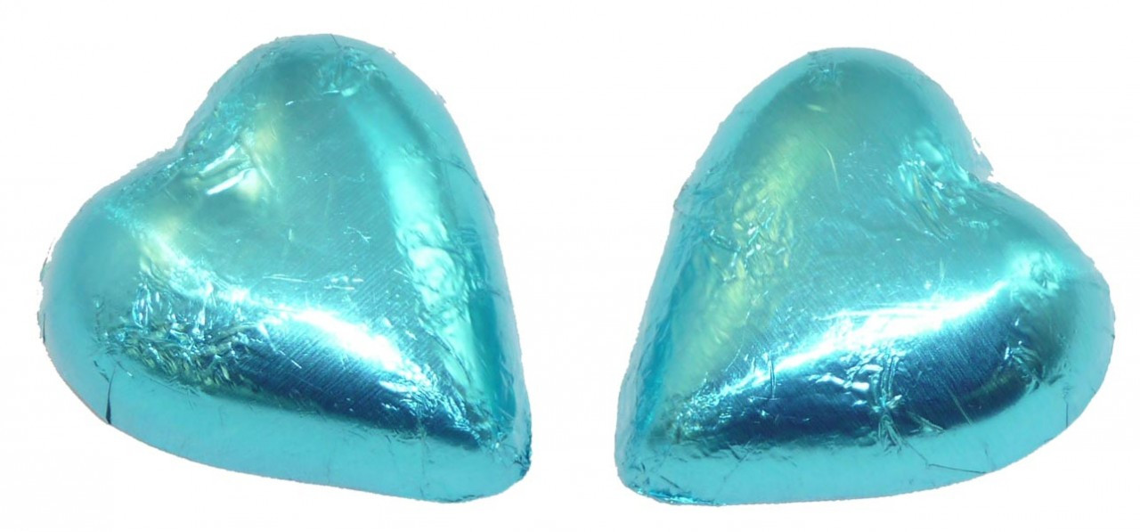 Chocolate Gems - Chocolate Hearts - Light Blue Foil, by Chocolate Gems,  and more Confectionery at The Professors Online Lolly Shop. (Image Number :2514)