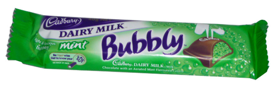 Cadbury Dairy Milk Bubbly with Mint Flavoured Bubbles, by Cadbury/Nestle,  and more Confectionery at The Professors Online Lolly Shop. (Image Number :2495)