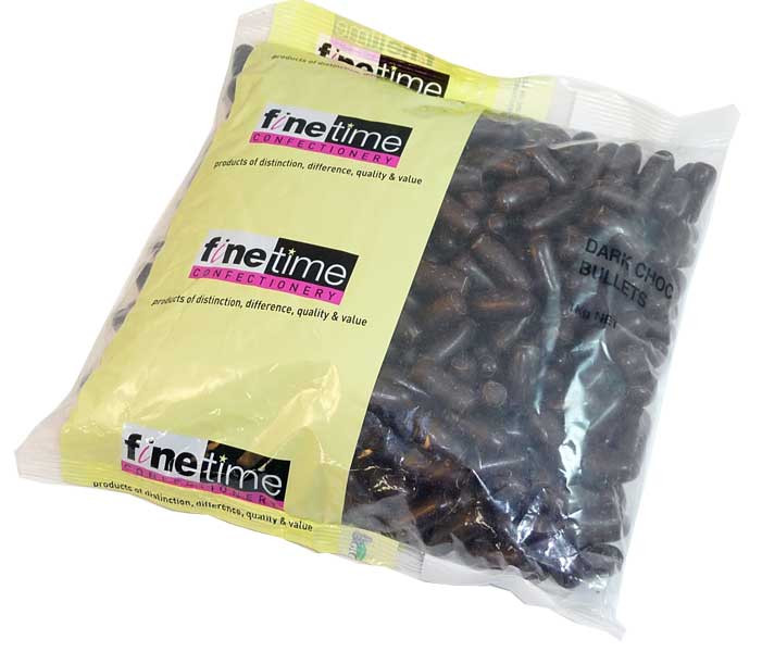 FineTime Dark Choc Liquorice Bullets, by FineTime,  and more Confectionery at The Professors Online Lolly Shop. (Image Number :2651)
