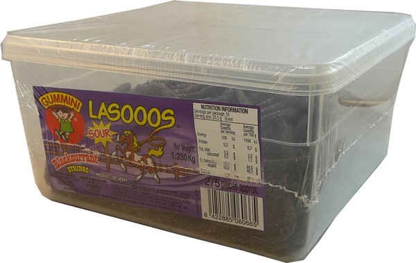 Lasooos Sour Blackcurrant Strings, by AIT Confectionery,  and more Confectionery at The Professors Online Lolly Shop. (Image Number :2668)