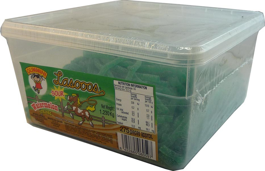 Lasooos Sour Watermelon Strings, by AIT Confectionery,  and more Confectionery at The Professors Online Lolly Shop. (Image Number :2671)