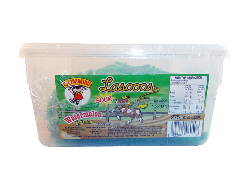 Lasooos Sour Watermelon Strings, by AIT Confectionery,  and more Confectionery at The Professors Online Lolly Shop. (Image Number :3265)