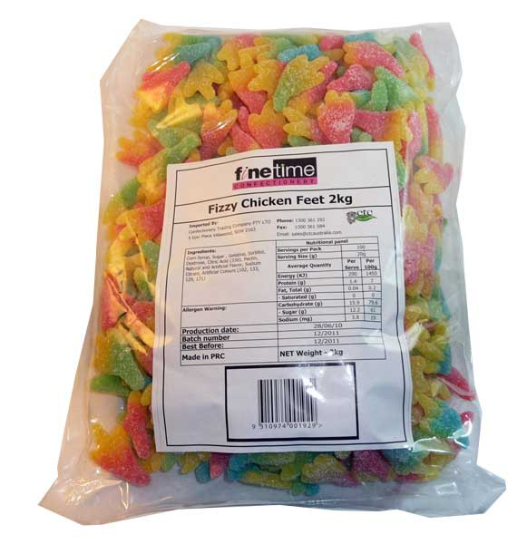 FineTime Fizzy Chicken Feet, by FineTime,  and more Confectionery at The Professors Online Lolly Shop. (Image Number :2652)