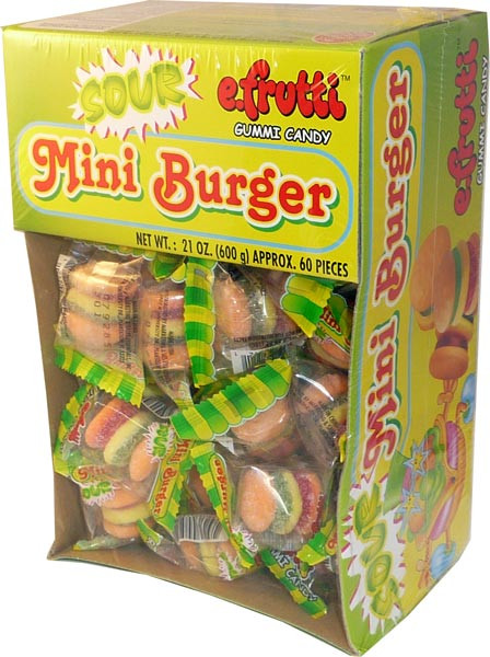 e.Frutti Sour Mini Burgers, by Other,  and more Confectionery at The Professors Online Lolly Shop. (Image Number :2645)