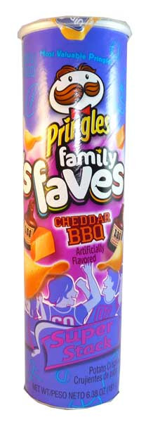 Pringles - Family Faves - Cheddar BBQ, by Pringles,  and more Snack Foods at The Professors Online Lolly Shop. (Image Number :2838)