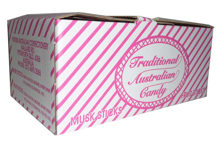 Traditional Australian Candy - Musk Sticks, by Porters Australian Confectionery,  and more Confectionery at The Professors Online Lolly Shop. (Image Number :2864)
