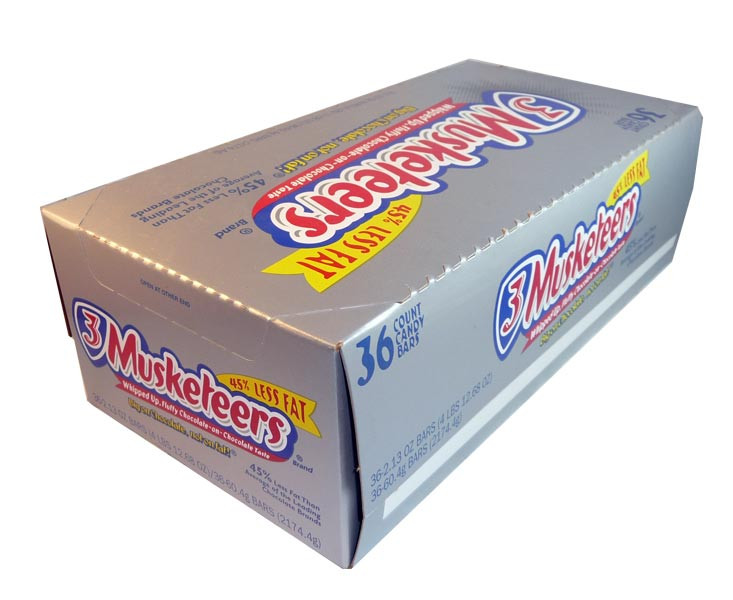 3 Musketeers Chocolate Bars, by Mars,  and more Confectionery at The Professors Online Lolly Shop. (Image Number :2880)