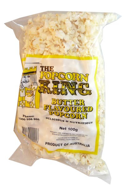 Butter Flavoured Popcorn, by The Popcorn King,  and more Snack Foods at The Professors Online Lolly Shop. (Image Number :2883)