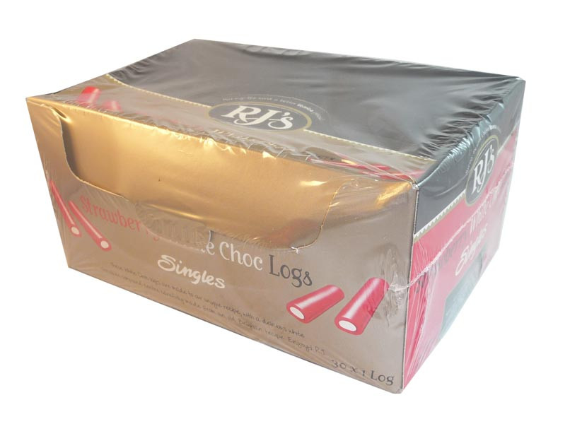 RJ s Strawberry White Choc Logs, by RJs,  and more Confectionery at The Professors Online Lolly Shop. (Image Number :2926)