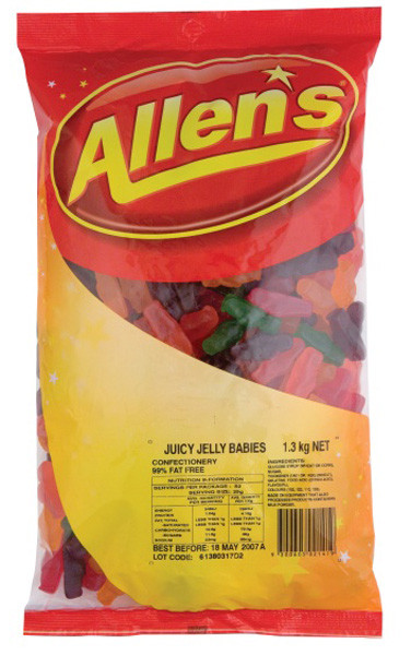 Allens Juicy Jelly Babies, by Allens Confectionery,  and more Confectionery at The Professors Online Lolly Shop. (Image Number :6360)