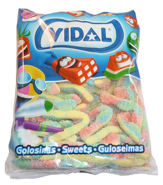 Vidal Sour Caterpillars, by vidal,  and more Confectionery at The Professors Online Lolly Shop. (Image Number :3583)