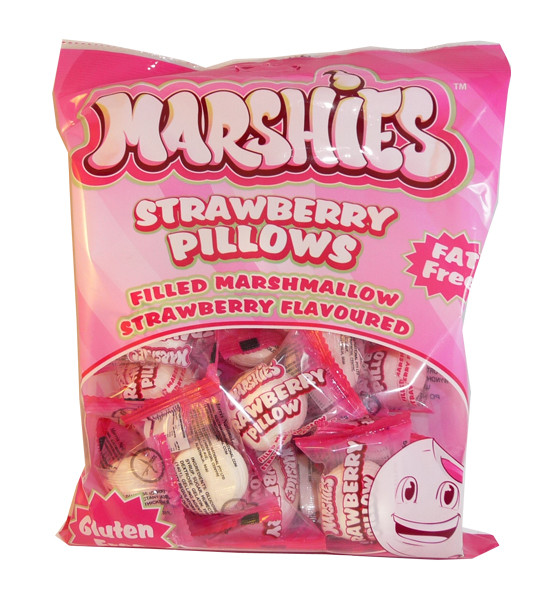 Marshies Strawberry Pillows, by Marshies,  and more Confectionery at The Professors Online Lolly Shop. (Image Number :3173)