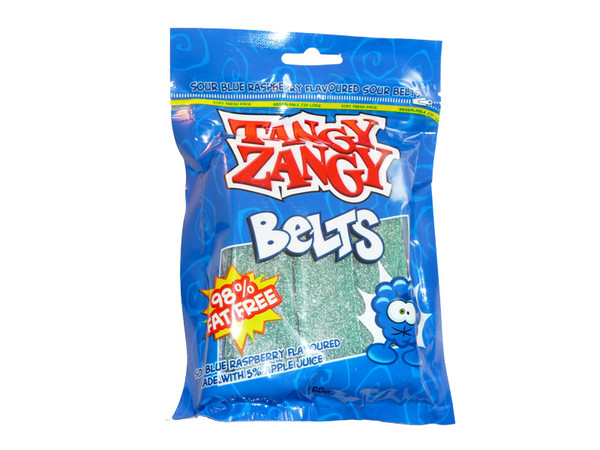 Tangy Zangy Belts Blue Raspberry, by Morris National,  and more Confectionery at The Professors Online Lolly Shop. (Image Number :3229)