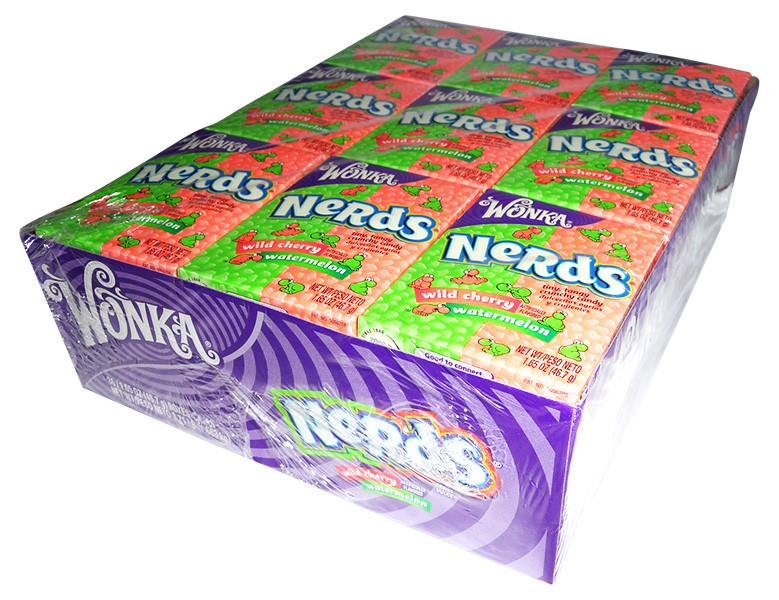 Willy Wonka Nerds - Wild Cherry and Watermelon, by Wonka,  and more Confectionery at The Professors Online Lolly Shop. (Image Number :4177)