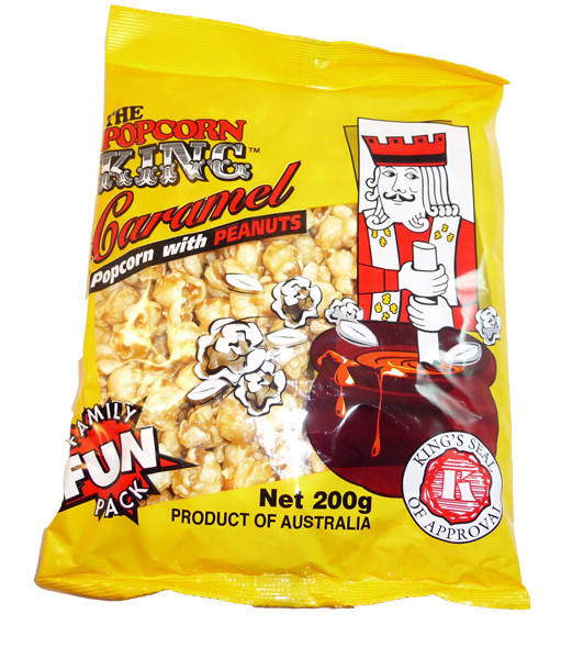 Caramel Popcorn with Peanuts, by The Popcorn King,  and more Confectionery at The Professors Online Lolly Shop. (Image Number :3240)