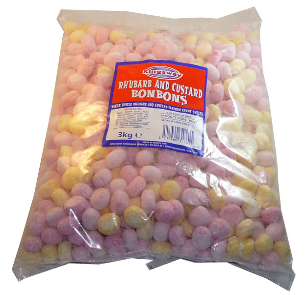 Bon Bons Rhubarb and Custard, by Kingsway,  and more Confectionery at The Professors Online Lolly Shop. (Image Number :3376)
