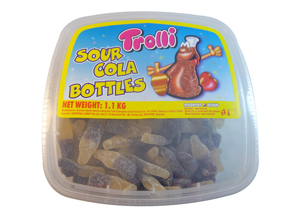 Trolli Sour Cola Bottles Tub, by Trolli,  and more Confectionery at The Professors Online Lolly Shop. (Image Number :3317)