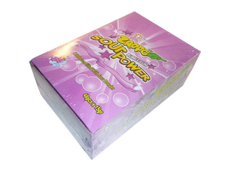 Zappo Sour Power Bubble Gum - Grape, by Crown Confectionery,  and more Confectionery at The Professors Online Lolly Shop. (Image Number :3319)