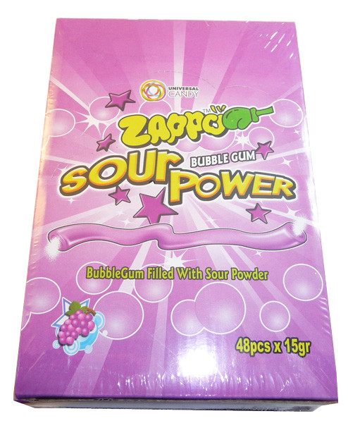 Zappo Sour Power Bubble Gum - Grape, by Crown Confectionery,  and more Confectionery at The Professors Online Lolly Shop. (Image Number :3400)