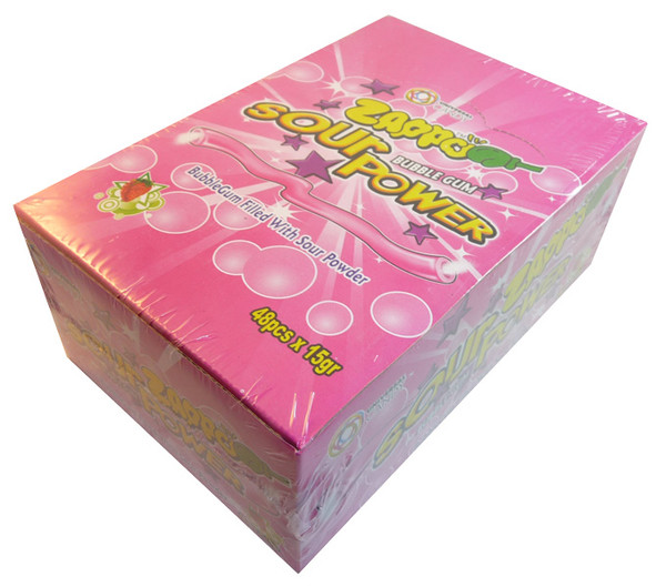 Zappo Sour Power Bubble Gum - Strawberry, by Crown Confectionery,  and more Confectionery at The Professors Online Lolly Shop. (Image Number :3397)