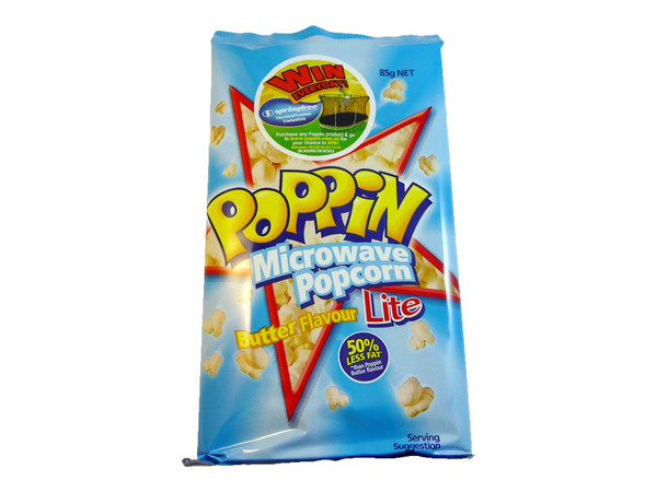 Poppin Microwave Popcorn - Butter Flavour - Lite, by The Popcorn King,  and more Confectionery at The Professors Online Lolly Shop. (Image Number :3327)