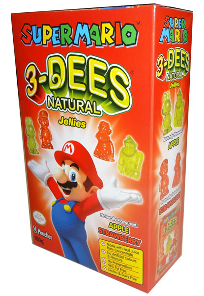 Super Mario 3-Dees Natural Jellies Apple / Strawberry, by Candy Brokers,  and more Confectionery at The Professors Online Lolly Shop. (Image Number :4472)