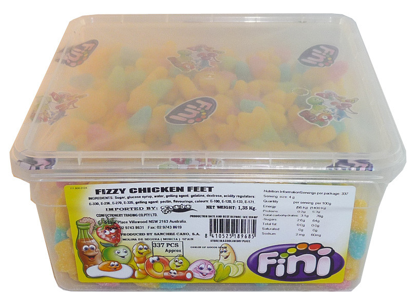 Fini Fizzy Chicken Feet, by Fini,  and more Confectionery at The Professors Online Lolly Shop. (Image Number :3683)