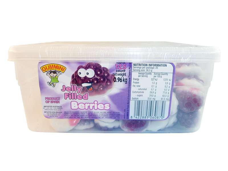 Gummini Jelly Filled Berries, by AIT Confectionery,  and more Confectionery at The Professors Online Lolly Shop. (Image Number :3475)