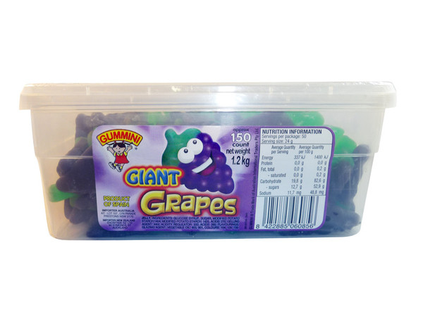 Gummini Giant Grapes, by AIT Confectionery,  and more Confectionery at The Professors Online Lolly Shop. (Image Number :3486)