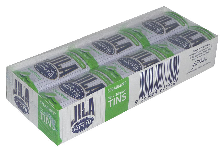 Jila Sugar Free Mints Tins - Spearmint, by Ferndale Confectionery/Jila,  and more Confectionery at The Professors Online Lolly Shop. (Image Number :3696)