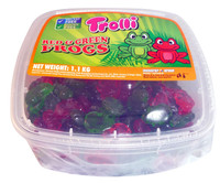 Trolli Red and Green Frogs Tub, by Trolli,  and more Confectionery at The Professors Online Lolly Shop. (Image Number :4127)