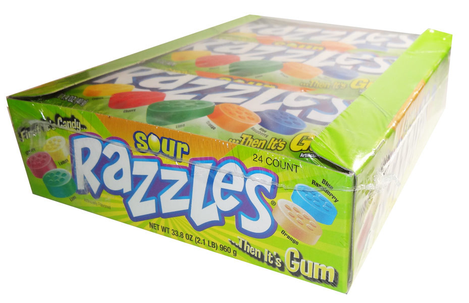 Razzles - Sour, by Tootsie Roll Industries,  and more Confectionery at The Professors Online Lolly Shop. (Image Number :6684)