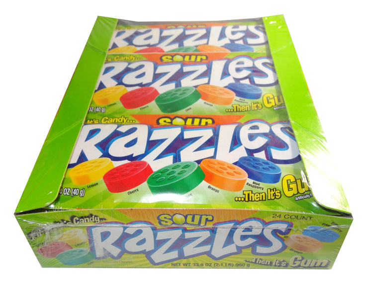 Razzles - Sour, by Tootsie Roll Industries,  and more Confectionery at The Professors Online Lolly Shop. (Image Number :6685)