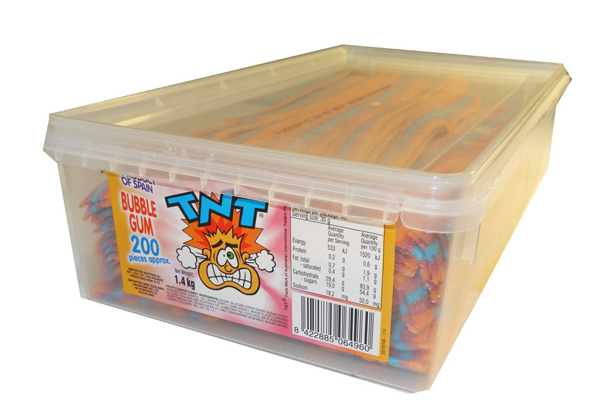 TNT Sour Straps Bubble Gum, by TNT,  and more Confectionery at The Professors Online Lolly Shop. (Image Number :5222)