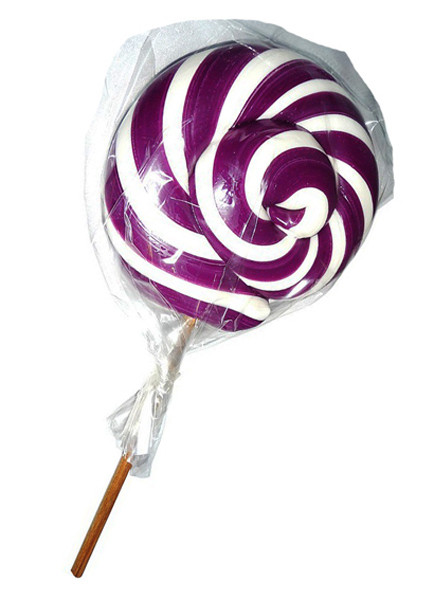 Round Purple and White Lollipop, by Designer Candy,  and more Confectionery at The Professors Online Lolly Shop. (Image Number :6121)