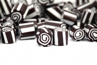 Rock Candy - Black and White - Swirl Centre, by Designer Candy,  and more Confectionery at The Professors Online Lolly Shop. (Image Number :9104)
