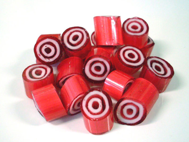Rock Candy - Red and White - Bulls-eye Center, by Designer Candy,  and more Confectionery at The Professors Online Lolly Shop. (Image Number :6435)