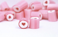 Rock Candy - Pink and White - Heart Center, by Designer Candy,  and more Confectionery at The Professors Online Lolly Shop. (Image Number :9099)