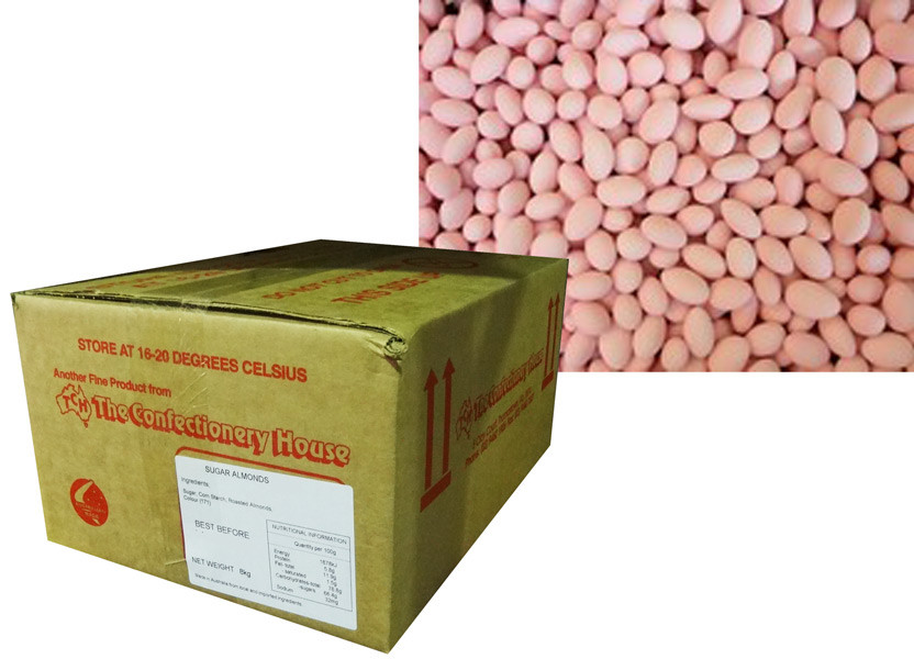 Sugar Coated Almonds - pink, by Confectionery House,  and more Confectionery at The Professors Online Lolly Shop. (Image Number :8798)