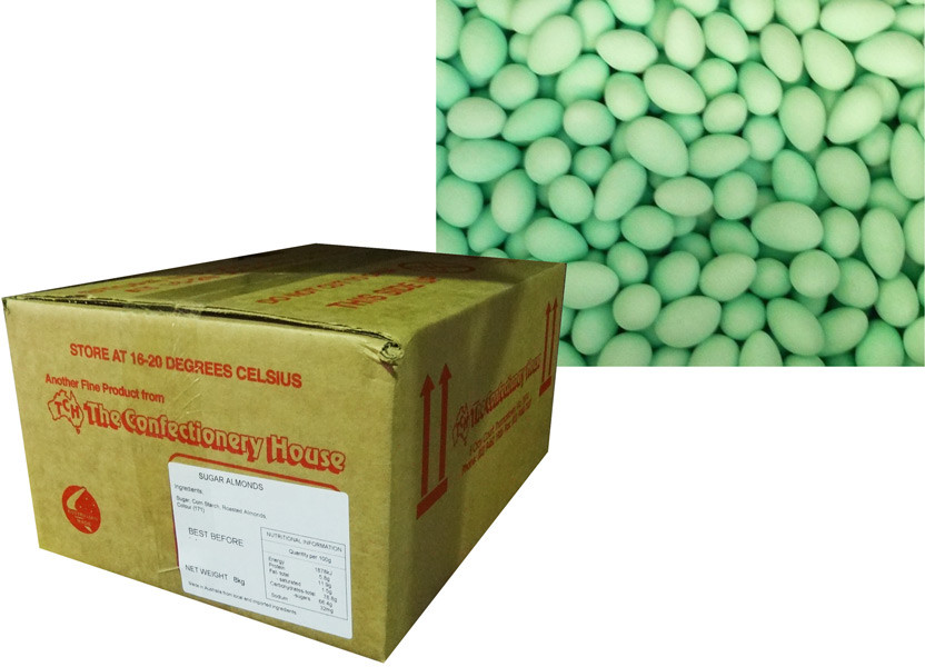Sugar Coated Almonds - Green, by Confectionery House,  and more Confectionery at The Professors Online Lolly Shop. (Image Number :8795)