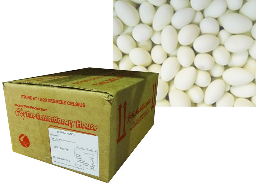 Sugar Coated Almonds - White, by Confectionery House,  and more Confectionery at The Professors Online Lolly Shop. (Image Number :8791)
