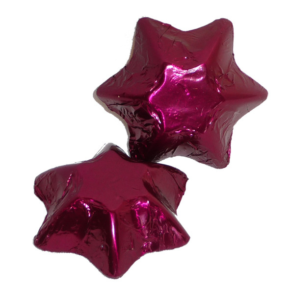Chocolate Gems - Chocolate Stars - Burgundy Foil, by Chocolate Gems,  and more Confectionery at The Professors Online Lolly Shop. (Image Number :4255)